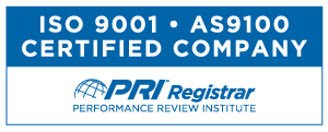 ISO 9001:2015, AS9100D certified company logo