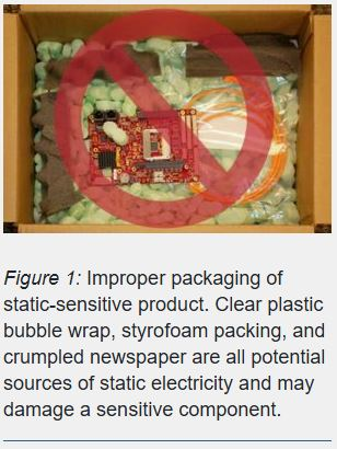 improper packaging of a static-sensitive product